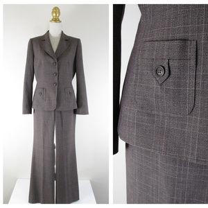 Tahari Brown Plaid Pant Suit Business Career 10